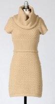 Tulle Kaki Short Sleeve Knitted Sweater Dress Cowl Neck Design