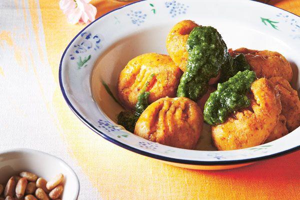 Sweet Potato Gnocchi with Kale Pesto & Pine Nuts.