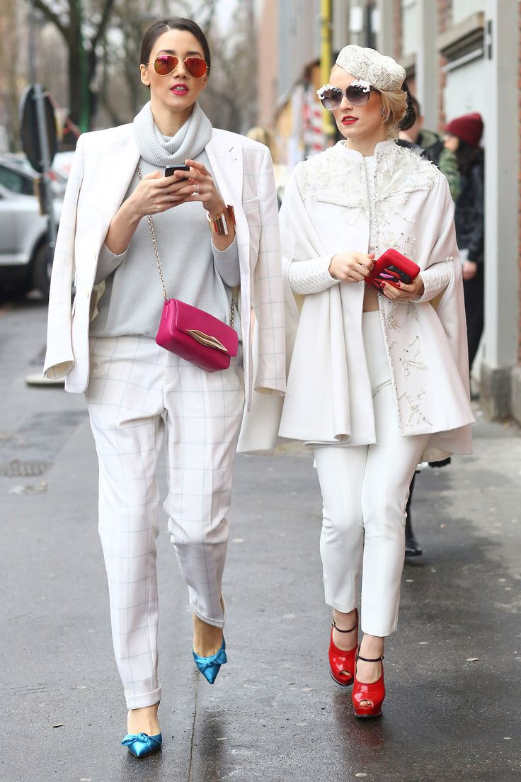 White with bright shoes #MFW #Streetstyle