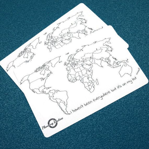 World Map stickers in A5 or A4 size. Perfect for every notebook, planner or BuJo.