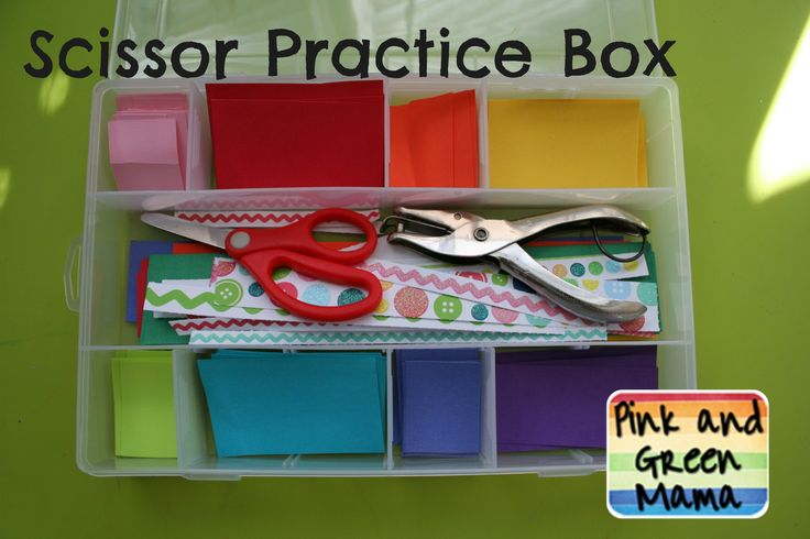 Scissor Skills Practice box with scissors and whole punch for fine motor skillsCut Practice, Green Mama, Scissors Practice, Practice Boxes, Cut Boxes, Fine Motors, Arts And Crafts, Kids, Paper Cutting