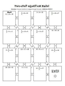 Two-Step-Equations-Notes-Maze-Activity-416552 Teaching Resources - TeachersPayTeachers.com