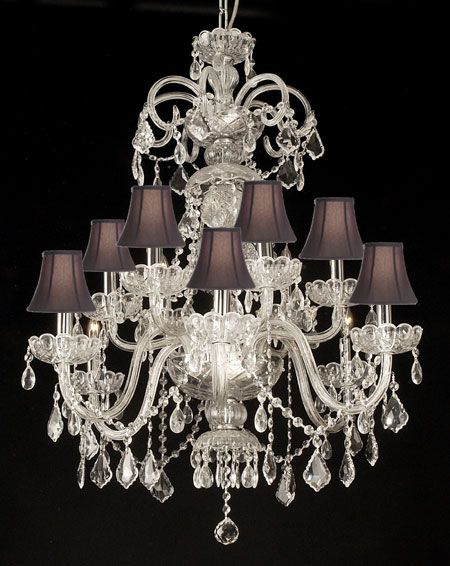 F46-SC/CLEAR/590/12 - CRYSTAL CHANDELIER WITH SHADES