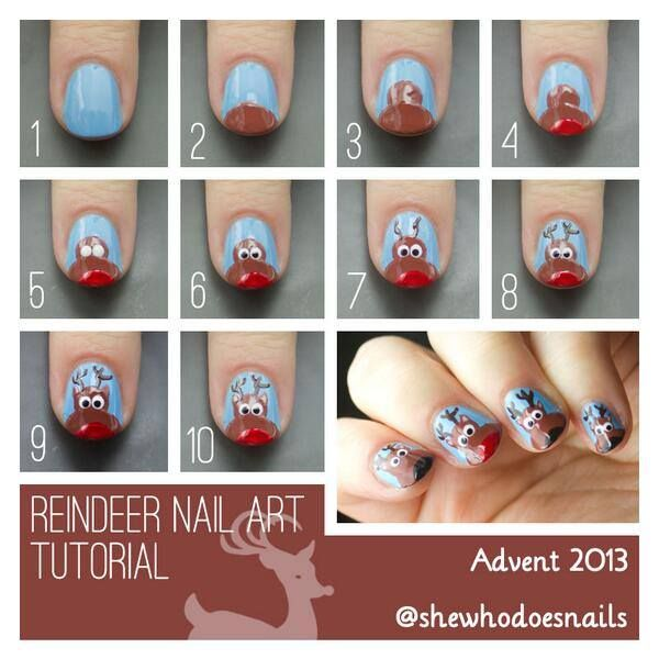 Christmas Nail Designs Tutorial: Reindeer Nail Art Tutorial
