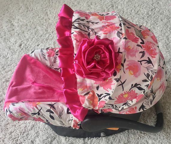 In Stock and Ready to Ship Car Seat Cover Hot Pink Floral
