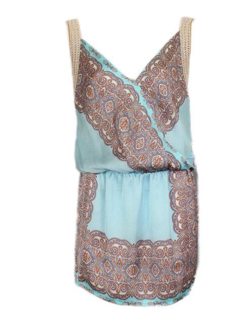 Blauwe jurk met print - Korte jurken - BoBo Tremelo