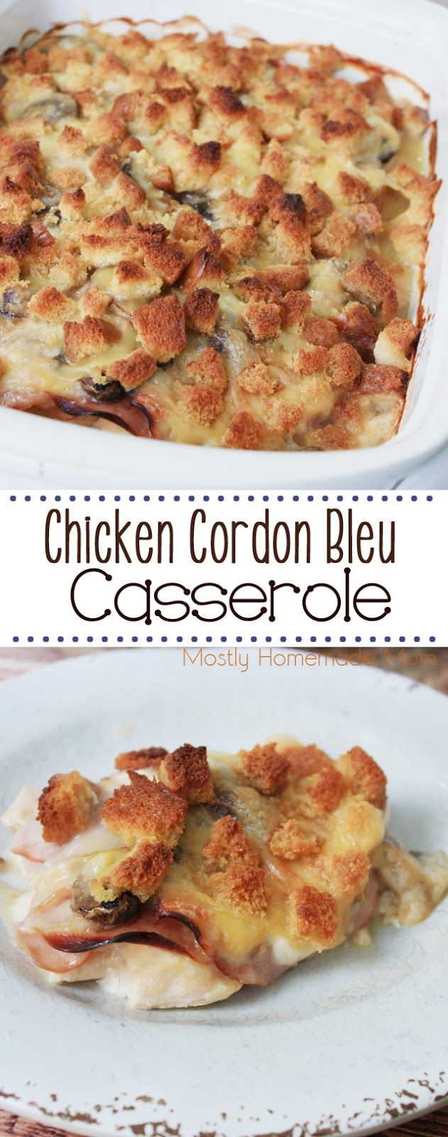 Chicken Cordon Bleu Casserole - the perfect chilly weeknight meal! Fresh chicken, ham, and swiss cheese with a creamy sauce and topped with buttered bread cubes - delicious!