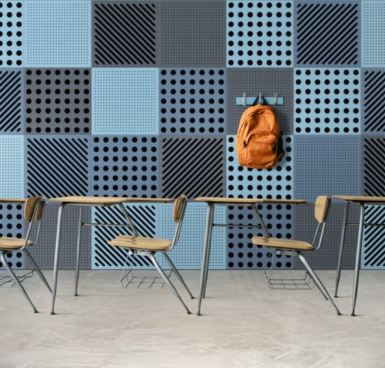 Education + Wallcovering_Formnation SoundBasic_acoustical panels_Used in the classroom + comes in various colors/patterns