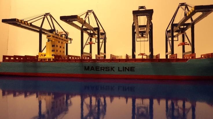 Maersk Line vessel, scale 1/500, in San Antonio, Chile. Shared on Facebook by Patricio Martinez Villavicencio.