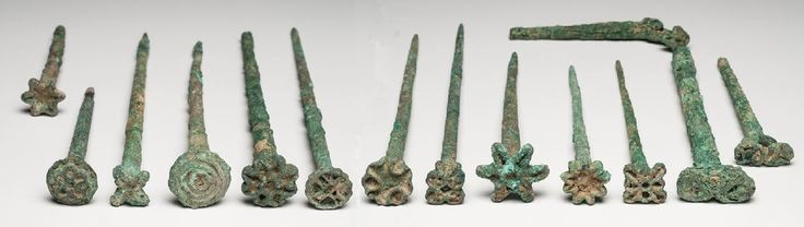 Mesopotamian seal, Bactrian seal pins, 2000-1500 B.C.  Mesopotamian seal, Afghanistan, Bactrian seal pins, Bactria Margiana Bactrian bronze seal pins, 21 cm long max. Private collection