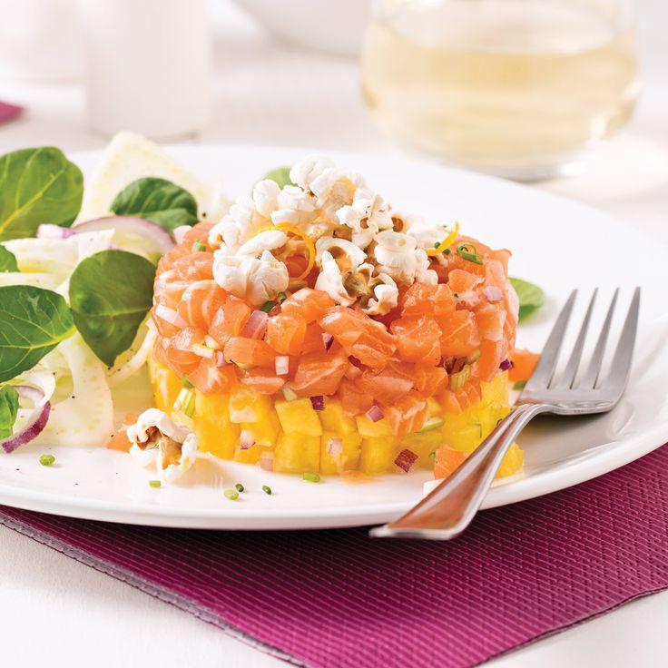 Un tartare fruité relevé de maïs soufflé! Voilà une belle idée pour insuffler un vent de fantaisie dans notre assiette!