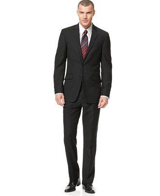 Kenneth Cole Reaction Black Solid Slim-Fit Suit - Suits & Suit Separates - Men - Macy's