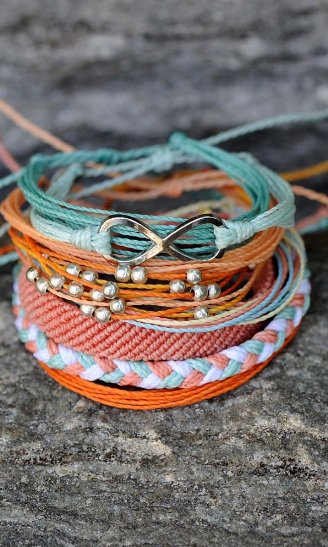 Mint and Coral Bracelets