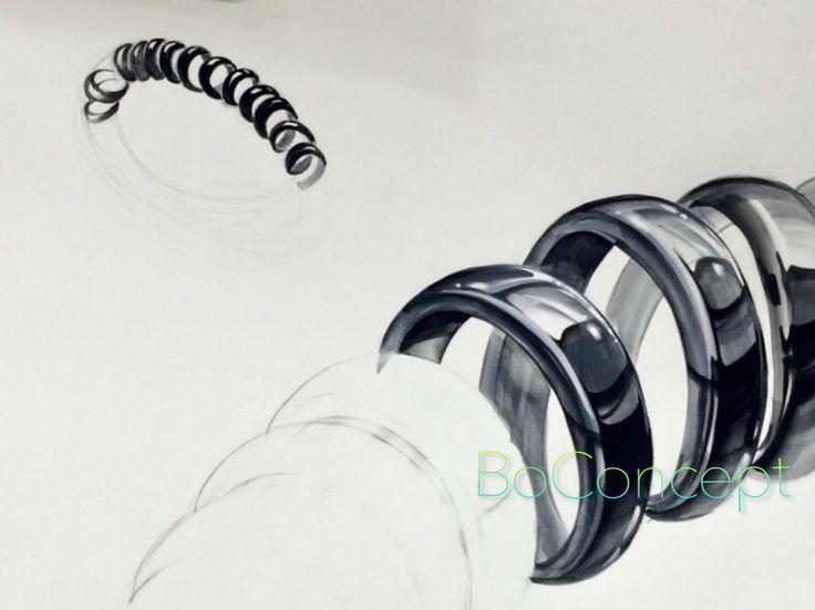 검정색 머리끈 용수철 형태 개체 질감 표현 기초디자인 made by BoConcept