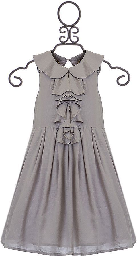 Sticky Fudge Gray Dress with Ruffle Front