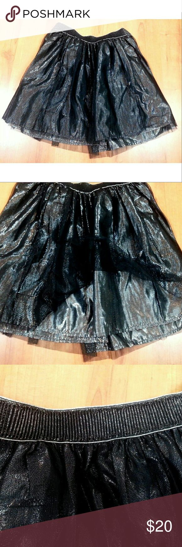 "Decree metallic liquid shimmer mini skirt Sequins have a matte effect Has zipper in back Fully lined  Waist: 15"" across front (30"" around). No stretch or give. Length: 16"" Decree Skirts Mini"