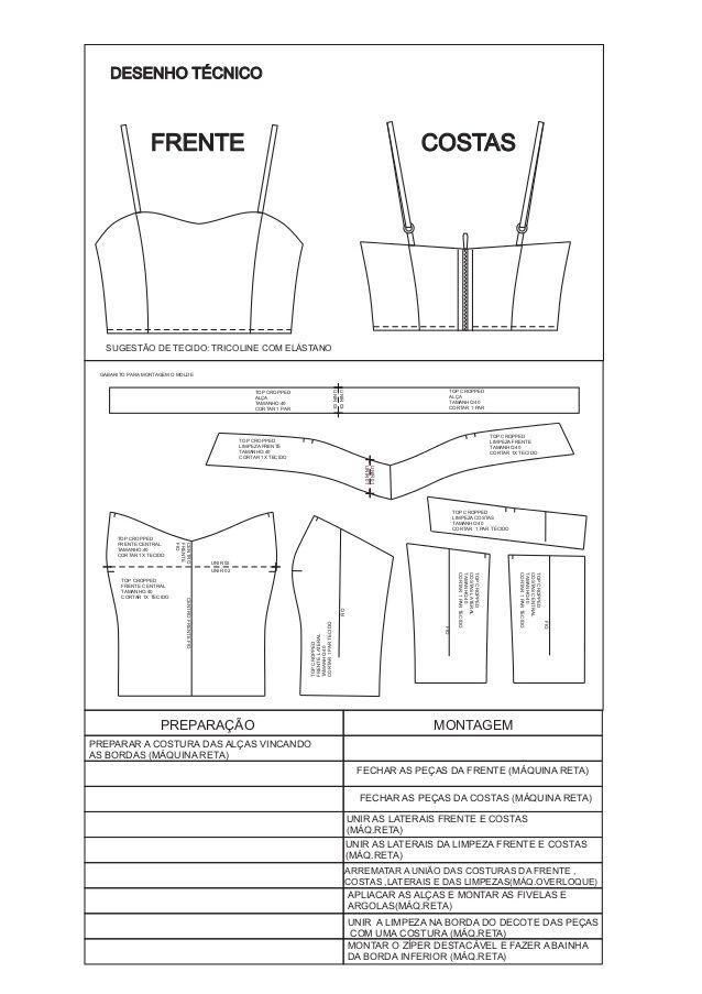 Frente Costas Desenho Tecnico Centro Frente Fio Unir Top Cropped Limpeza Frente Tamanho Cortar