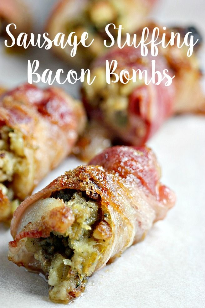Sausage Stuffing Bacon Bombs Recipe. Easy ideas to use up leftover stuffing from Thanksgiving and makes a great appetizer for potlucks and get togethers! #EverydayBrilliance [ad]