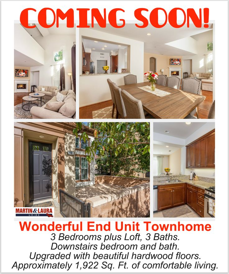 Coming soon beautiful end unit townhome with 3 bedrooms for Southern california interiors