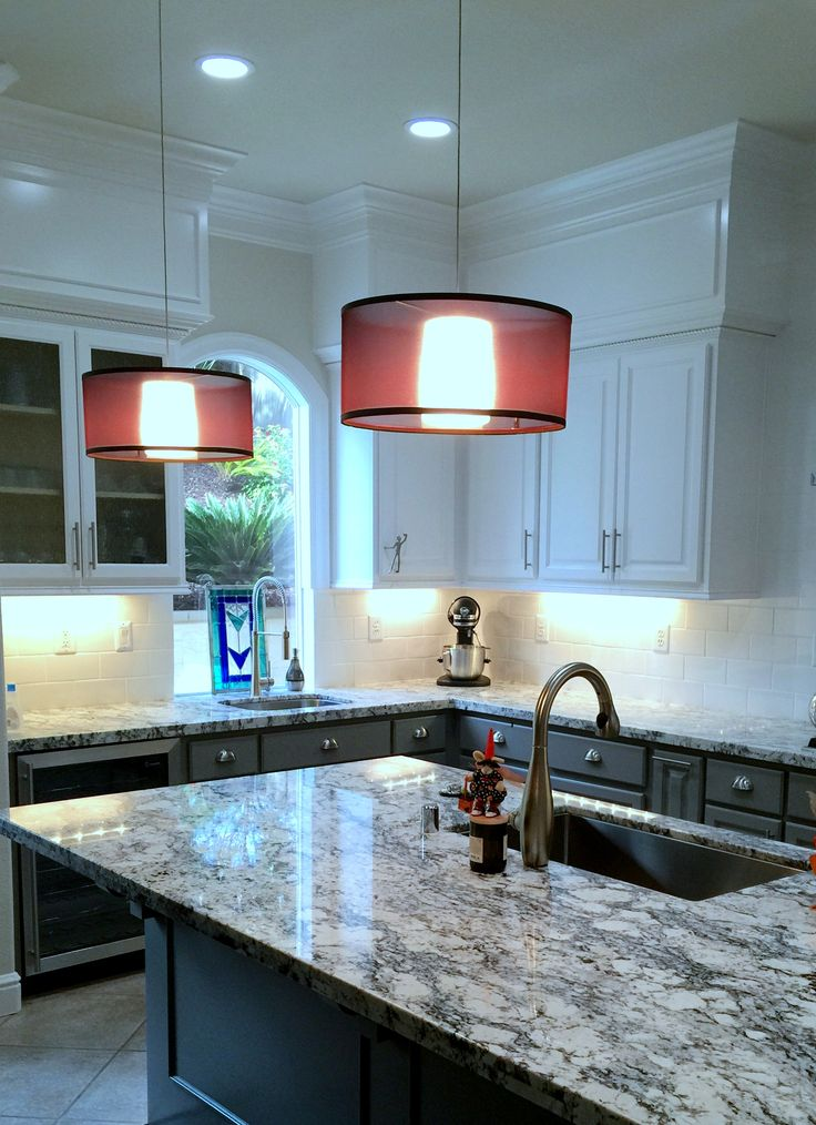 Refinished Cherry wood cabinets with Benjamin Moore ...