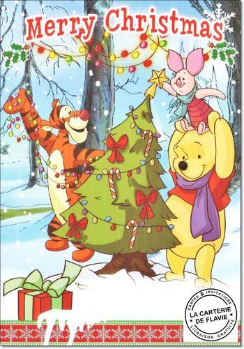 Cartes Disney Noël Winnie Offrez une vraie et jolie carte, livraison gratuite à retrouver:   #Disney #Winnie #Tigrou #Porcinet #Bourriquet #Noël #JoyeuxNoel #Disneyland