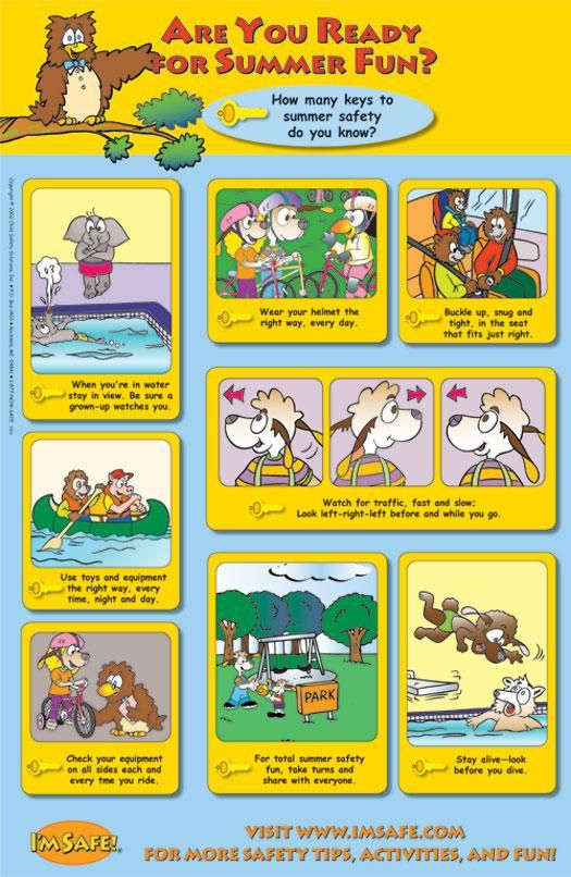 Summer safety poster is a useful tool not only for summer but through out the year. There are simple safety rules like wearing helmet when riding a bicycle illustrated. I like this poster as it talks about the small things we can do vigilantly to make sure utmost of safety of our children.