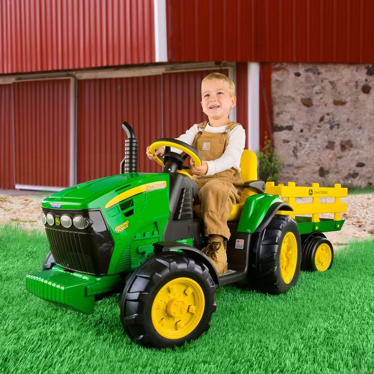 Have to have it. Peg Perego John Deere Battery Powered Ground Force Tractor with Trailer $297