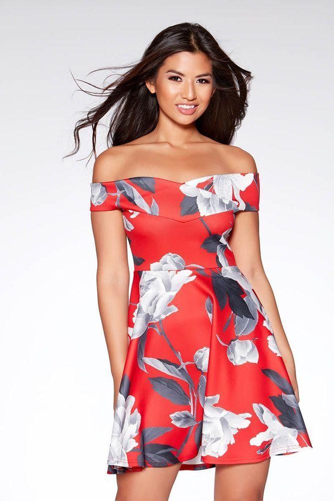 e79db32695f2 Quiz Red&Grey Floral Print Bardot Skater Dress Size UK 10 rrp 26.99 DH180  TT 06 #fashion #clothing #shoes #accessories #womensclothing #dresses (ebay  link)