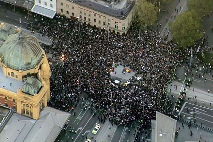 Aerial view of Melbourne protest against closure of remote communities
