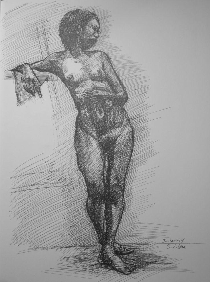 Standing nude, pen on paper, Artist: Cyprian Libera