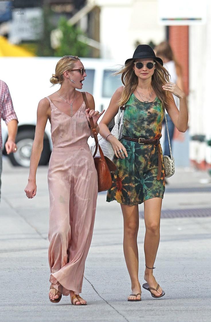 Behati Prinsloo and Candice Swanepoel stroll through Soho, October 10 2011