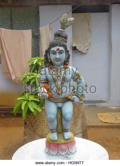 Statue of Lord Krishna at Shiva temple, Kanyakumari, Tamilnadu, India - Stock Image