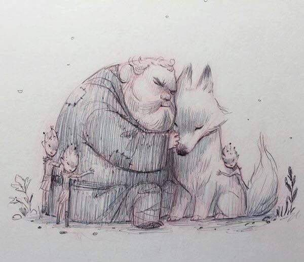 One of my favourite Game of Thrones artworks (anyone know who the artist is?). So sweet yet so sad. Hodor, Summer and the CotF.
