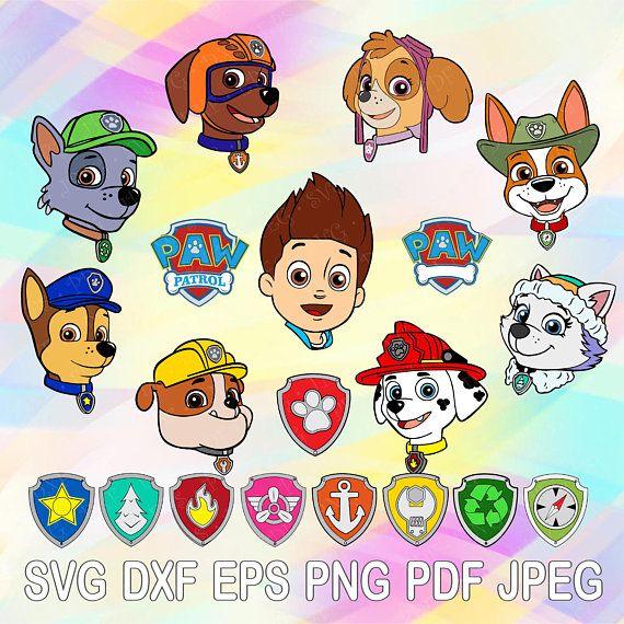 SVG Paw Patrol Layered Cut Files Shields Badges Cricut