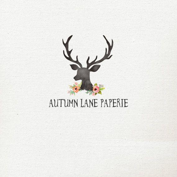 made logo premade logo antler logo deer logo floral logo flower logo ...