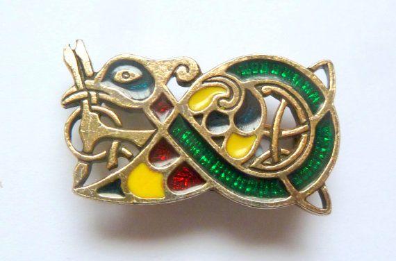 Vintage Sol D'or Miracle Book Of Kells Enamel Celtic Bird Style Brooch.