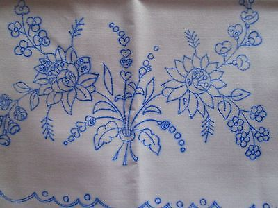 """Hungarian kalocsa folk art rectangular floral tablecloth pre-stamped for hand embroidery. Size: 33""""x 14""""-traditional folk art: the flowers are embroidered red, blue, and pink with yellow insides and the stems and leaves are done in two shades of green. -the blue lines are easy to see and will wash out after the first hand wash in warm water. -printed on a nice quality cloth that will hold its shape even after hand washing. Thank you for looking and happy e-baying! Froo www. Froo. Com 