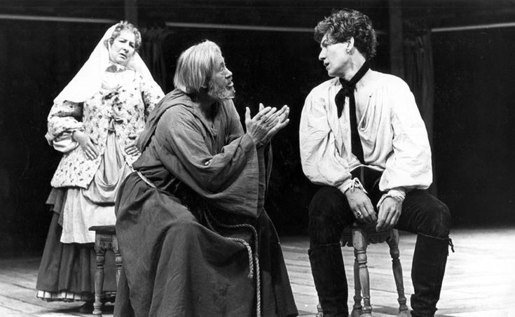 Nurse (Marie Kean), Friar Lawrence (David Waller) and Romeo (Ian McKellen) Stratford 1976