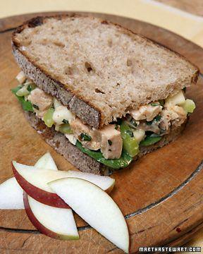 Tuna Salad Sandwich (tuna, light mayo, apple, celery, basil, lemon juice, salt and pepper) via Martha Stewart.  This is my favorite way to eat tuna.