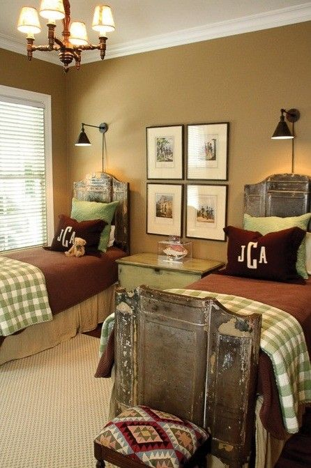 Boys bedrooms- like the tan, brown & sage green color scheme...and the antique/vintage bed frames!
