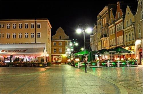 Opole - Poland, by night! Market Square Summer beer gardens - I love them!