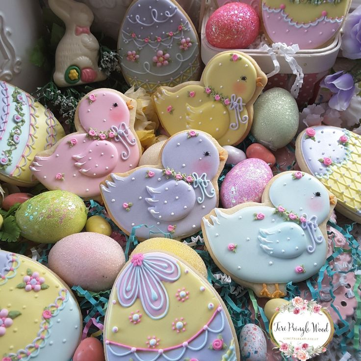 Easter cookies, chicks, eggs, decorated cookies,