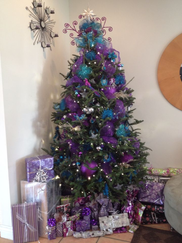 teal and purple christmas decorations ...