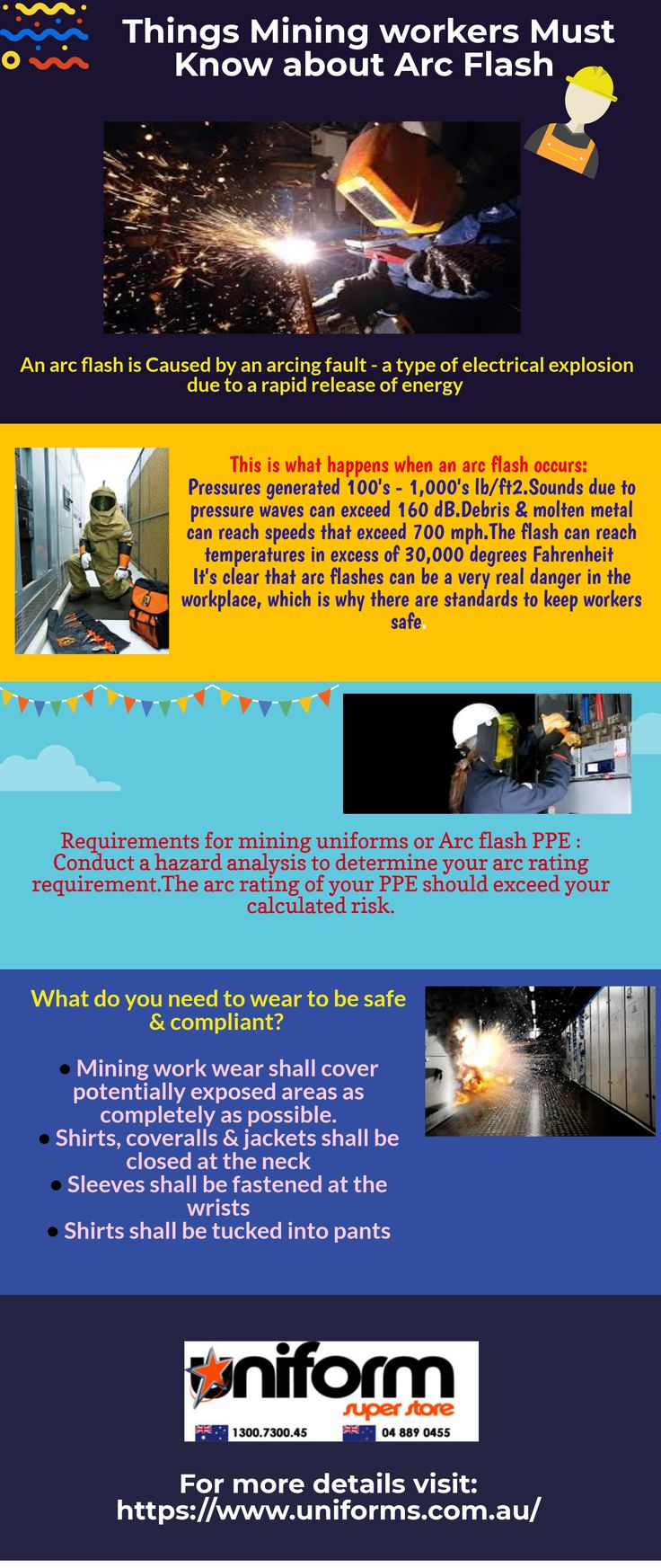 Mining jobs include lots of risks and one of them is Arc flash here your mining work wear and your knowledge about the hazards can only keep you safe. see more at: https://www.uniforms.com.au/Uniform-Article/work-wear.html