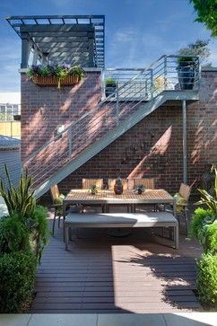 simple dining, brick backdrop, wall planter