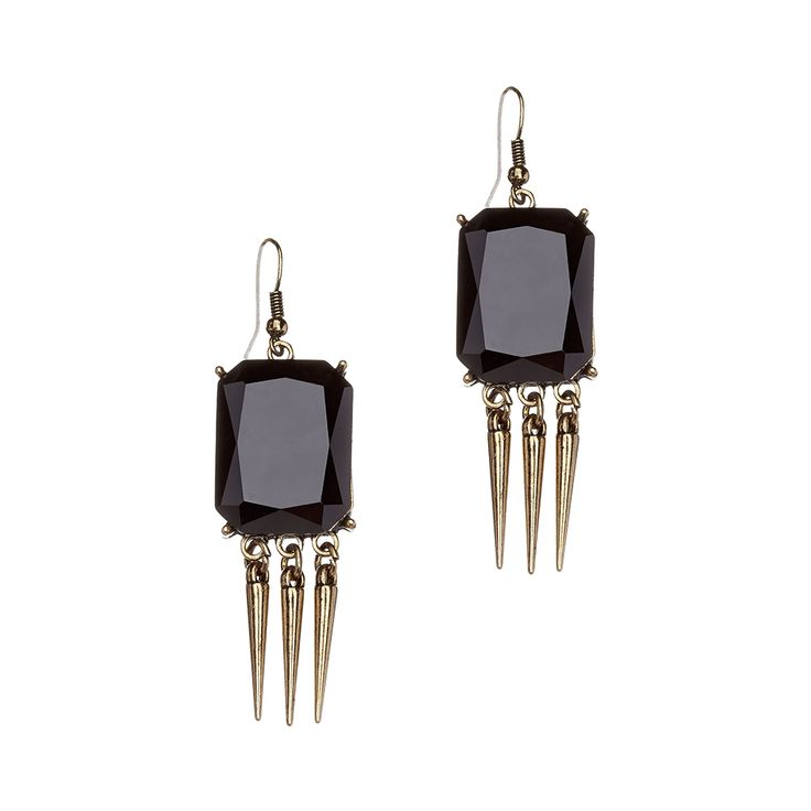 Add some flair to the most simplest of outfits with these black fringe dangle earrings. Composed of a rectangular faceted stone with brass fringes, these dangles earrings are a must have for this season. Their tribal flair and deep hue will add warmth to your look.