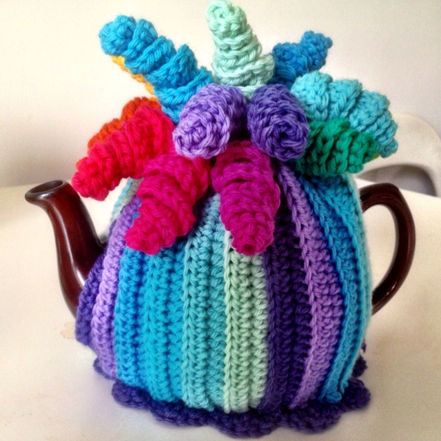 Latest crochet teacosy…it's putting me in mind of Sideshow Bob. #crochet #teacosy