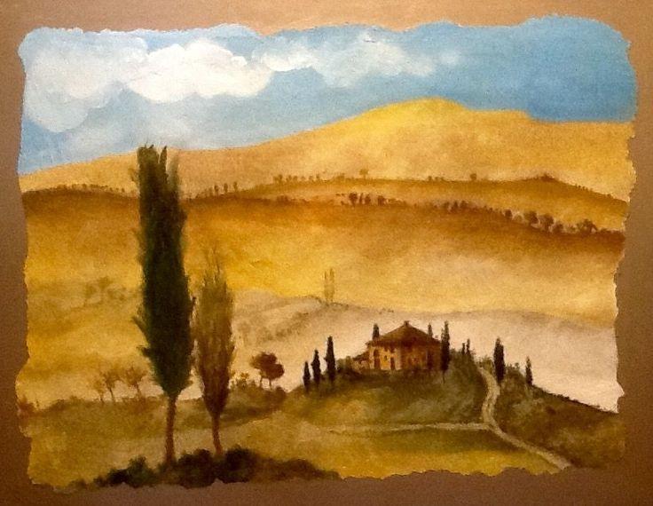 Quadro Paesaggio di Toscana con Foschia - cm 50x64 - Affresco