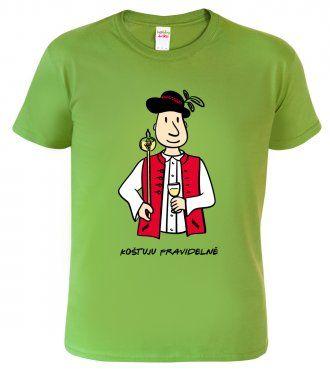 Tričko pro vinaře - Vinař v moravském kroji s koštýřem