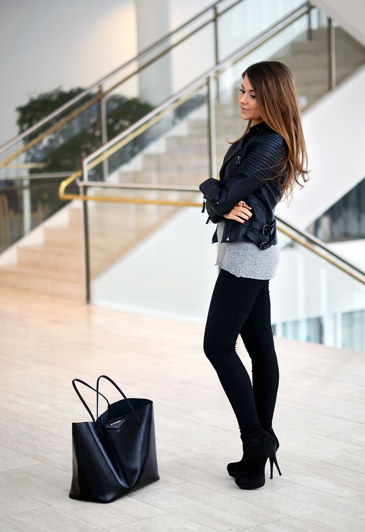 Mariannan Leather jacket Zara Sweater Brandy Melville Bag Givenchy Scarf Acne Shoes Steve Madden